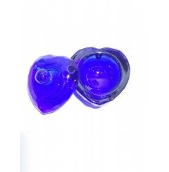 Стаканчик стеклянный с крышкой / сердце синее